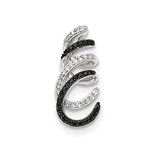Roy Rose Jewelry 14K White Gold 1/4-Carat tw Black and White Diamond Curling Swirl Chain Slide Pendant - 1/4 Ct Diamond Slide Pendant