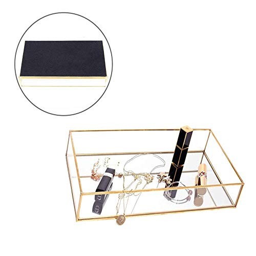 Pahdecor Vintage Mirrored Makeup Decorative Vanity Tray Small Ornate Glass Makeup Jewelry -