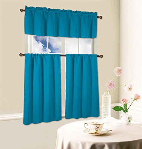 Kashi Home 3 Piece Blackout Kitchen Curtain Set, Beth (Turquoise)