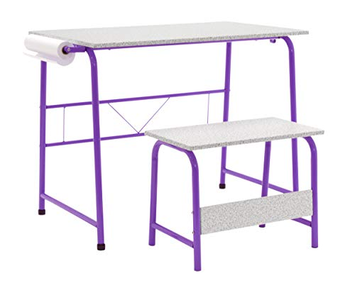 SD Studio Designs Project Center, Kids Craft Table with Bench in Purple/Spatter Gray 55127,