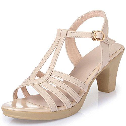 Épais Boucle Hauts Femmes Les Cuir des Sandales D'été Beige pour Sexy Un Chaussures Out Mesdames Mot Toes avec en Talons Fuite 1dqY1wp