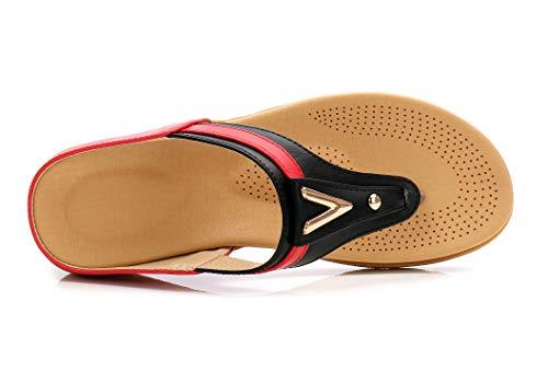 Bas Dame Simple à Conception Ouvert Noir Rouge Compensées Talon JDS® Sandales Été Bout Confortables Fortuning's qx5U4Y8w