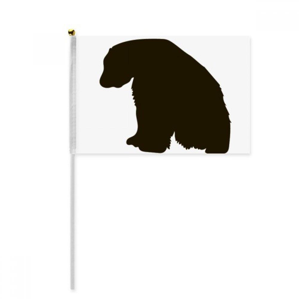 Black Polar Bear Animal Portrayal Hand Waving Flag 8x5 inch Polyester Sport Event Procession Parade 4pcs