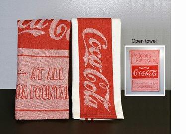 Lovely Vintage Coca Cola Jacquard Tea Towels