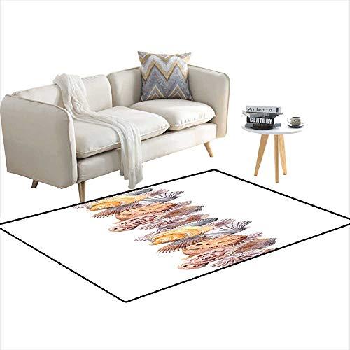 (Extra Large Area Rug Seamless Border Stripe wi Seashells Watercolour Frame 3'x15')