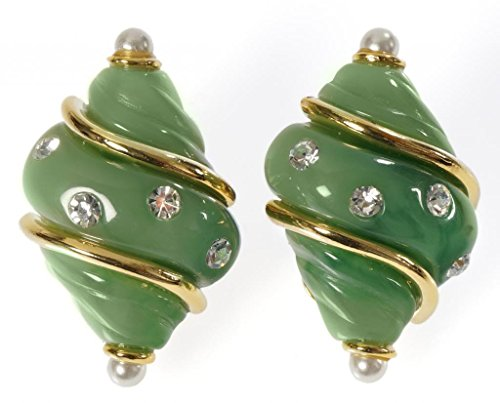 Green Shell Clip On Earrings Resin with Pearls & Crystals Costume (Jackie O Costume Jewelry)