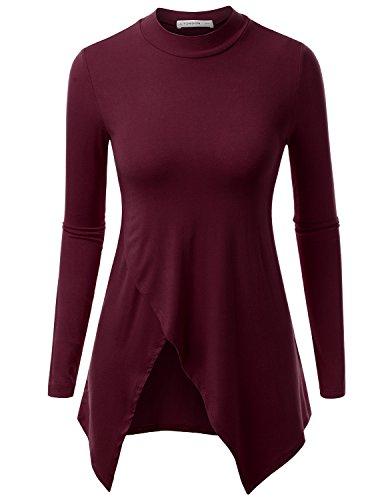 NINEXIS Women's Basic Mock Neck Long Sleeve Tunic Top with Crossover Hem Wine XS