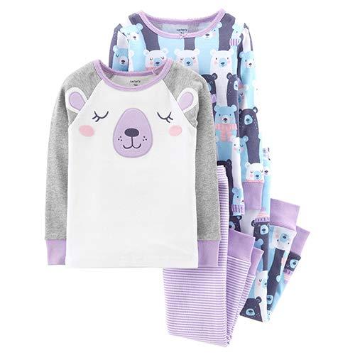 (Carter's Baby Girls' 4 Pc Cotton (2T, Purple Bear))