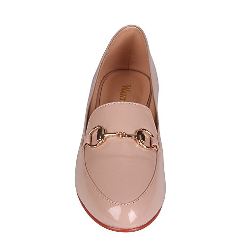 Wanted Nude Patent Detailing Loafer Brydle Chain Slip on qwnqgaTp