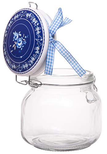 - Exclusive Medium Food Storage Glass Jar Canister with White and Blue Ceramic Flip Airtight Lid and Decorative Ribbon Bow, 28 Ounces