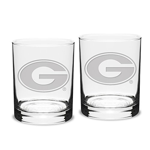 NCAA Georgia Bulldogs Adult Set of 2 - 14 oz Double Old Fashion Glasses Deep Etch Engraved, One Size, Clear
