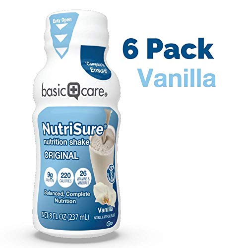 Amazon Basic Care Nutrisure Adult Nutritional Shake, Vanilla, 6 Count