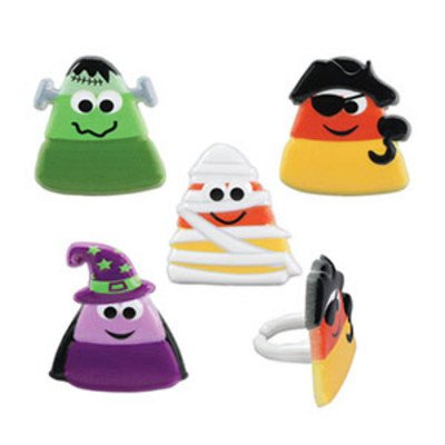 Halloween Party Candy Corn Character Cupcake Rings - 24 pc