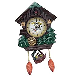 LOVIVER Cuckoo Clock Traditional Forest House Clock Handcrafted Wooden Wall Pendulum Quartz Clock