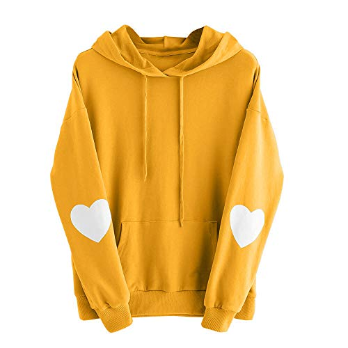 iHPH7 Womens Long Sleeve Heart Hoodie Sweatshirt Jumper Hooded Pullover Tops Blouse