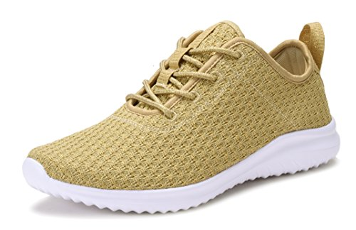 GEERS+YL802+Lightweight+Women%27s+Fashion+Sneakers+Casual+Sport+Shoes+GOLD-9