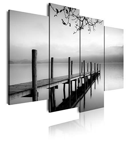 DekoArte 167 - Cuadros Modernos Impresion de Imagen Artistica Digitalizada | Lienzo Decorativo para Tu Salon o Dormitorio | Estilo Zen Blanco y Negro Paisaje de Agua Embarcadero | 4 Piezas 120x90cm