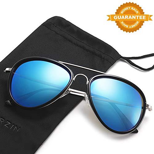 Frame Eyewear Sunglasses - Aviator Polarized Sunglasses PARZIN Sunglasses for Women,MenMirror Frame UV400 Protection with Sunglasses Case (Black Frame/Blue Lens, 75)