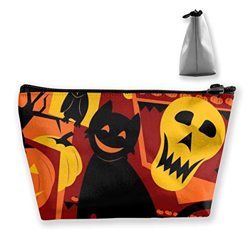 RobotDayUpUP Halloween Cats Womens Travel Cosmetic Bag Portable Toiletry Brush Storage Print Pen Pencil Bags Accessories Sewing Kit Pouch Makeup Carry Case ()