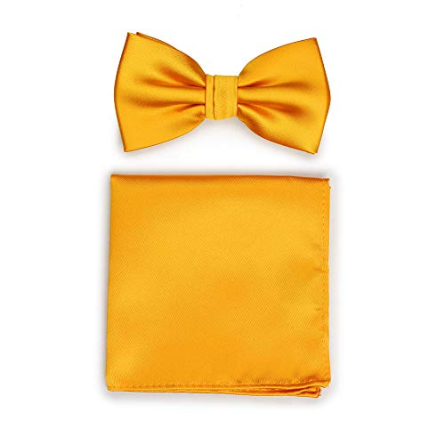 - Bows-N-Ties Men's Solid Adjustable Pre-Tied Bow Tie and Pocket Square Set (Golden Saffron)