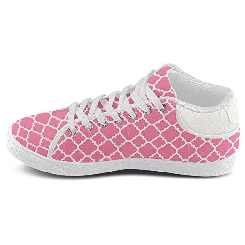 Artsadd Rose Blanc Quadrilobe Motif Classique Chukka Chaussures En Toile Pour Les Femmes (model003)