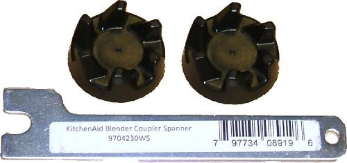 Two Genuine replacement black rubber couplers (AKA clutch or coupling) for a Kitchenaid KSB5 / KSB52 blender with a KAParts spanner tool to help with the removal of your old coupler.