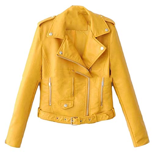 6bcd735676eda Xswsy XG-CA Womens Zipper Faux Leather Jacket Coat Outwear with Belted  Yellow XL