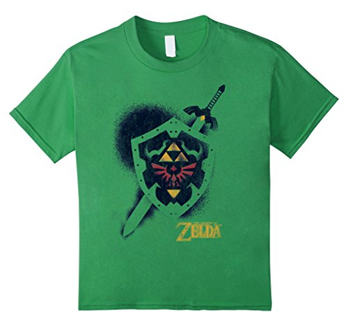 Price comparison product image Kids Nintendo Zelda Grungy Spray Painted Hylian Shield T-Shirt 4 Grass