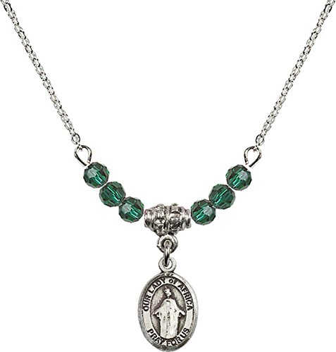 May Birth Month Bead Necklace with Our Lady of Africa Petite Charm, 18 Inch by Birth Month Necklace Collection