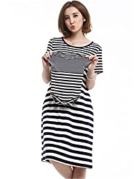 Unimommy Family Fitted Striped Pregnant Women Breastfeeding Nursing Dress with Baby