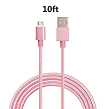 BESTVERT Micro USB Cable Heavy Duty,10ft/3M Quick Charging Nylon Braided Lightning USB Charge Data Sync Cord for Android Samsung Galaxy S4 S6 S7 LG G4 HTC, Motorola, Nokia, Tablets - Pink