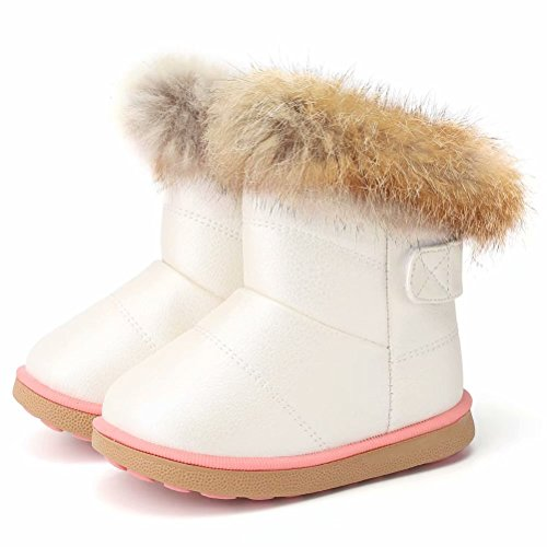 CIOR Fantiny Toddler Girl's Winter Snow Boots Fur Outdoor Slip-on Warm Boots,TXA-88-White-29