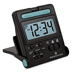 Marathon Simple Travel Alarm Clock with Calendar & Temperature, Easy to use, Easy to Set. - Battery Included (Midnight Black)