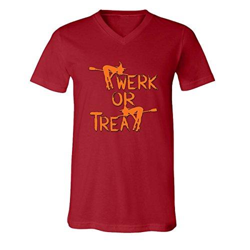 V-Neck for Men Halloween Costumes Twerk Treat Funny Costumes Men's V-Neck Shirts(Canvas Red,Large) -