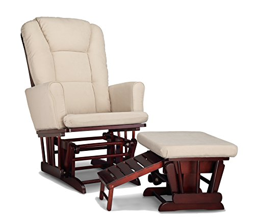 Graco Sterling Semi-Upholstered Glider and Nursing Ottoman, Cherry/Beige Cleanable Upholstered Comfort Rocking Nursery Chair with Ottoman ()