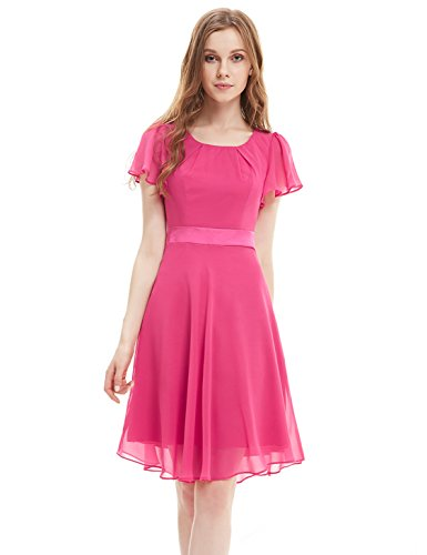 Ever Pretty Womens Short Sleeve Ruffles Casual Everyday Dress 12 US Hot Pink
