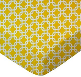 product image for SheetWorld 100% Cotton Percale Crib Sheet Set 28 x 52, Lemon Yellow Links, Inlcudes 1 Fitted, 1 Flat, 1 Toddler Pillow Case, Made in USA