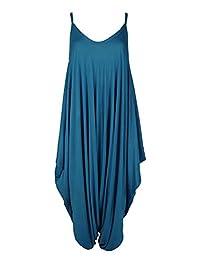 Girlzwalk Womens Ladies Cami Lagenlook Romper Baggy Harem Jumpsuit Playsuit Plus Size