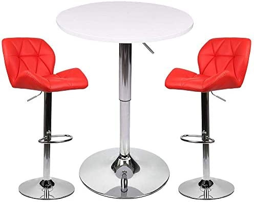 Bar Table Set of 3 Adjustable Round Table and 2 Swivel Pub Stool
