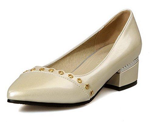 VogueZone009 Damen Ziehen auf Niedriger Absatz Eingelegt Spitz Zehe Pumps Schuhe Aprikosen Farbe