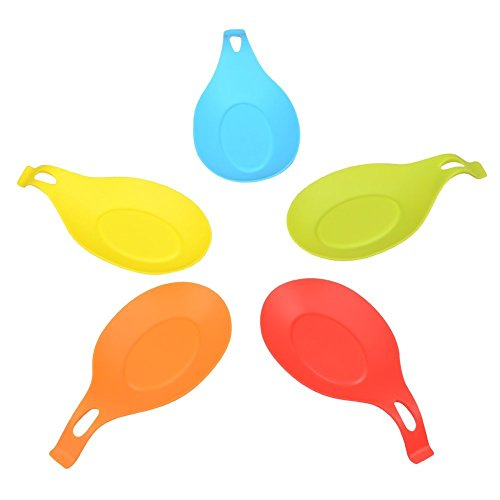 VILONG Silicone Spoon Rest Set - 5 Pieces Jumbo Spoon Rest Set With Colorful, Durable, Attractive, Heat-resistant, Dishwasher safe