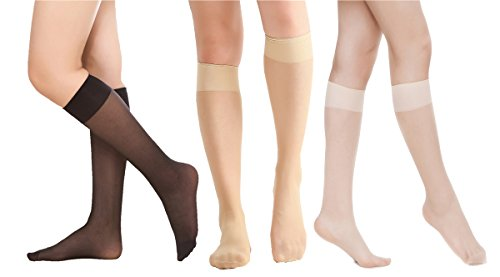 Women's 6 Pack Silky Sheer Knee High trouser socks reinforced toe(assort) - High Heel Sheer Stockings