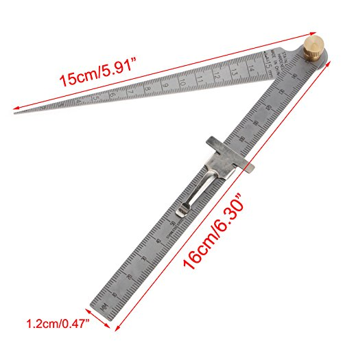 Labu Store Welding Taper Feeler Bore Gauge Gage Stainless Steel Depth Ruler Hole Inspection by Labu Store