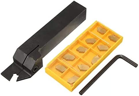 Metalldrehwerkzeughalter, Werkzeugzubehör Halter mit 10pcs 3mm SP300 Karbid-Einsätze ZQ2020R-3 Lathe 20mm Stechdrehwerkzeug