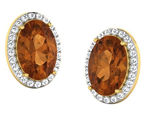 Libertini 0.41 Cts Diamonds & 6.4 Cts Yellow Sapphire Earrings in 14KT Yellow Gold (GH Color, PK Clarity)