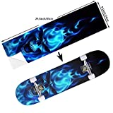 STREET FFX Fashion Funny Skateboard Cruiser Deck and Balance Board Stickers Decals Grip Tape - 9.5 x 33.5 Inches - Flaming Blue Cool Skull