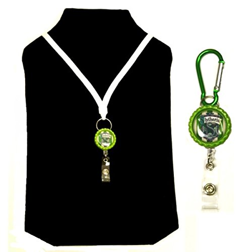Harry Potter Hogwarts House Inspired Symbol Decorative ID Badge Holder (Slytherin Bundle) (Slytherin Symbol)