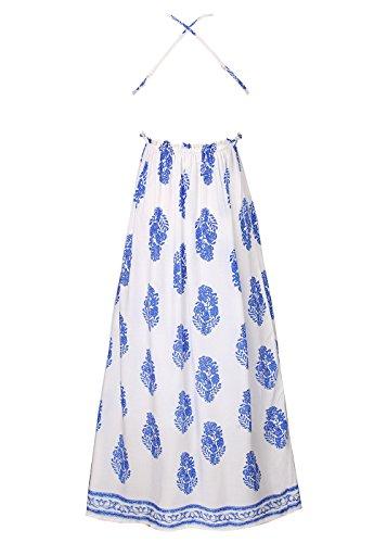 Frauen Ärmelloses, strapazierfestes Hosenträgerrock Backless Sexy Langes Kleid Blau M