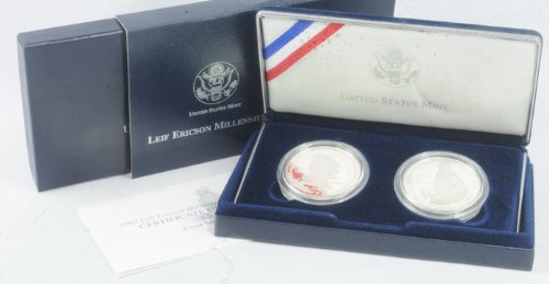 2000 Leif Ericson US & Icelandic Millenium Proof Silver Commemorative Coin Set