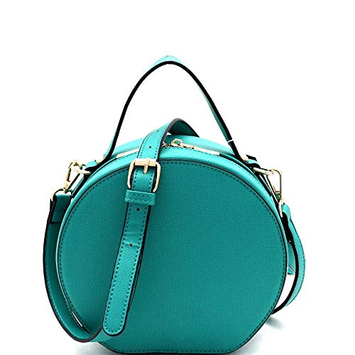 Saffiano 2-Way Medium PU Leather Round Satchel Shoulder Bag